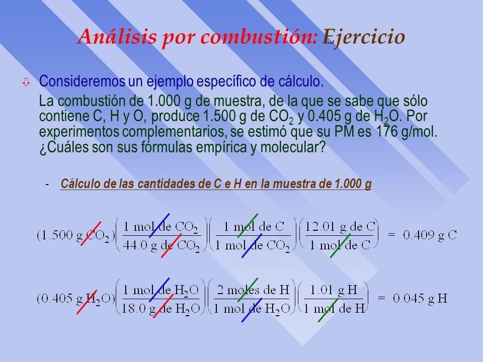 Análisis por combustión: Dispositivo El óxido de cobre (CuO) sirve para oxidar trazas de C y de CO a CO 2, y para oxidar el H a H 2 O. El perclorato d