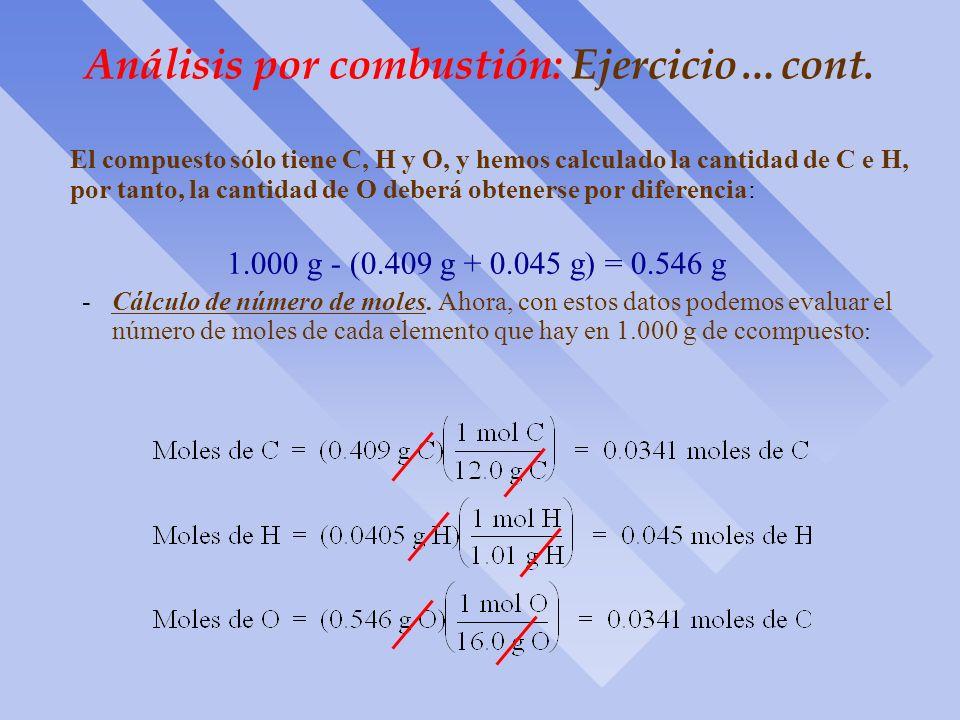 Análisis por combustión: Ejercicio ò Consideremos un ejemplo específico de cálculo. La combustión de 1.000 g de muestra, de la que se sabe que sólo co