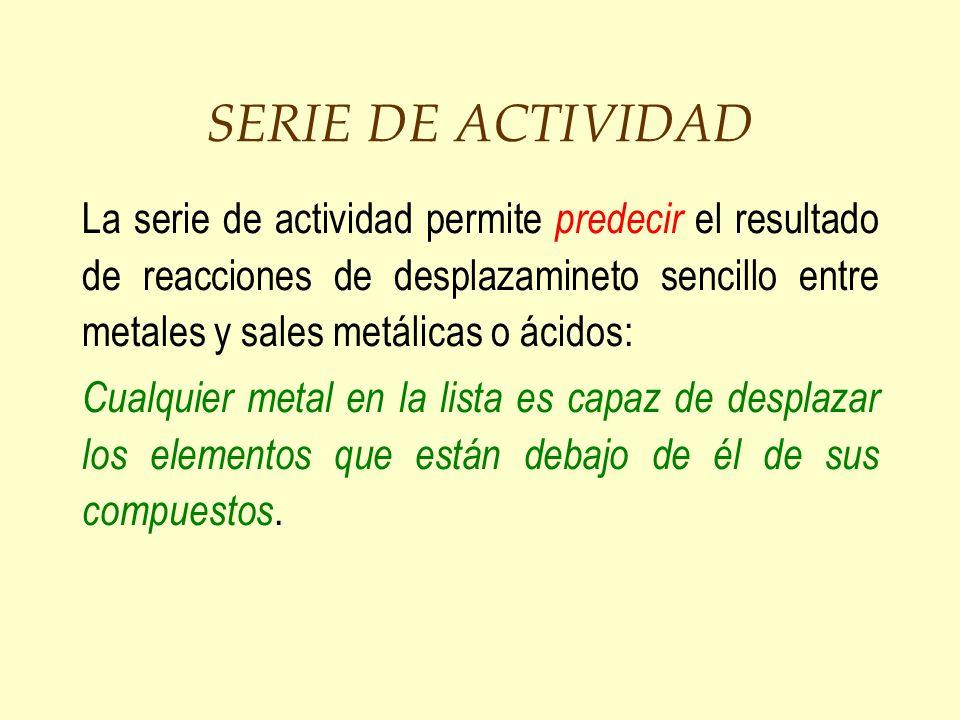 SERIE DE ACTIVIDAD La serie de actividad permite predecir el resultado de reacciones de desplazamineto sencillo entre metales y sales metálicas o ácid