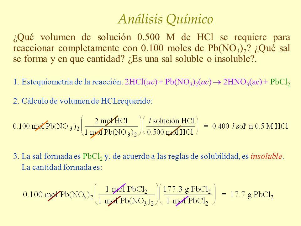 Análisis Químico ¿Qué volumen de solución 0.500 M de HCl se requiere para reaccionar completamente con 0.100 moles de Pb(NO 3 ) 2 ? ¿Qué sal se forma