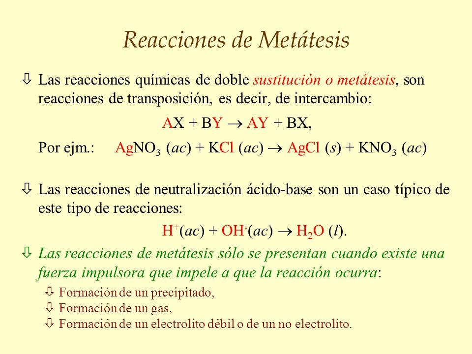 Reacciones de Metátesis òLas reacciones químicas de doble sustitución o metátesis, son reacciones de transposición, es decir, de intercambio: AX + BY