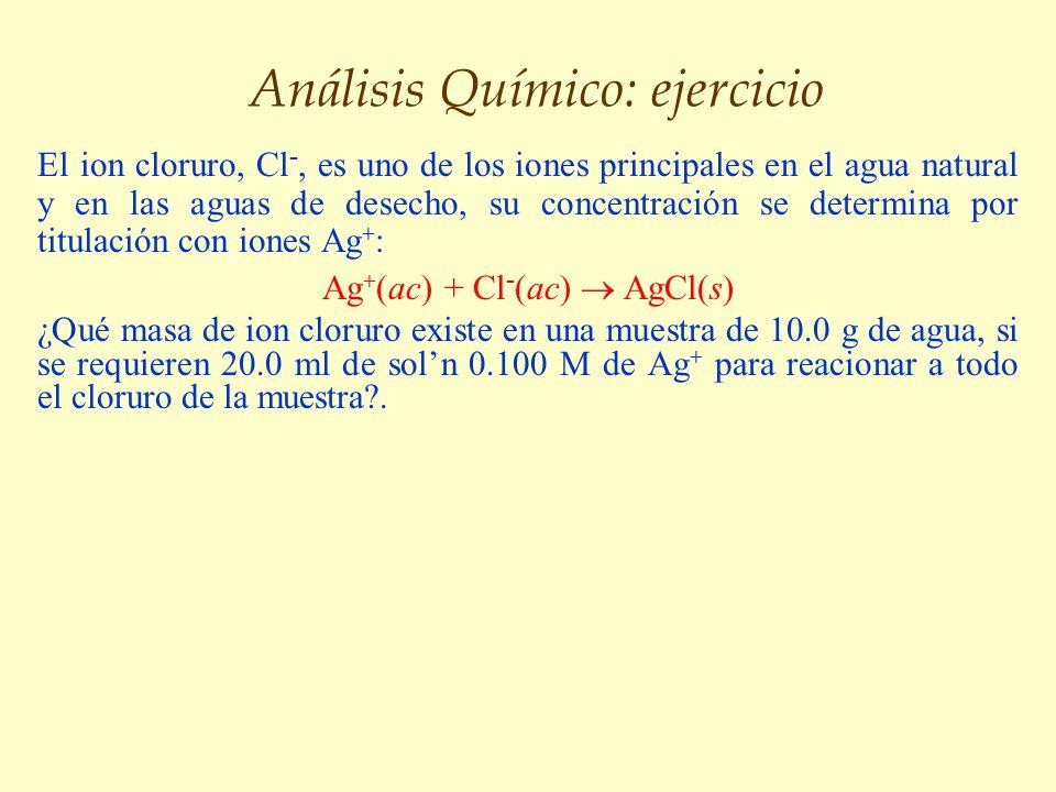 Análisis Químico: ejercicio El ion cloruro, Cl -, es uno de los iones principales en el agua natural y en las aguas de desecho, su concentración se de