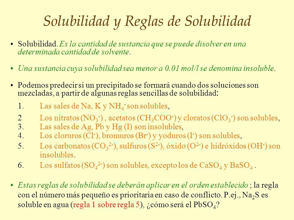 Solubilidad y Reglas de Solubilidad Solubilidad. Es la cantidad de sustancia que se puede disolver en una determinada cantidad de solvente. Una sustan