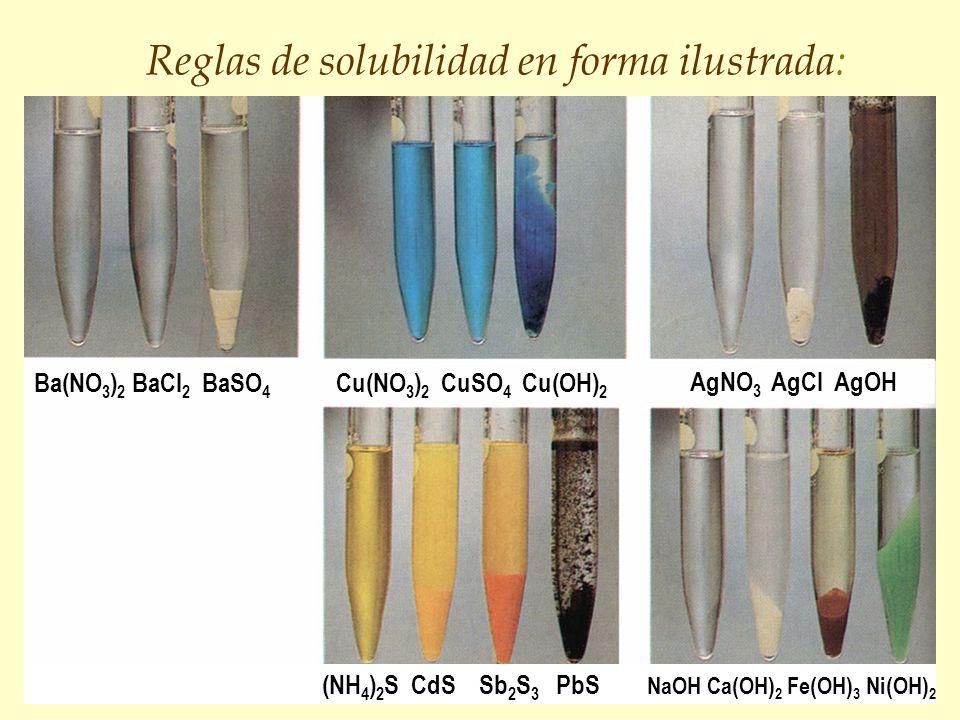 Reglas de solubilidad en forma ilustrada: (NH 4 ) 2 S CdS Sb 2 S 3 PbS NaOH Ca(OH) 2 Fe(OH) 3 Ni(OH) 2 Ba(NO 3 ) 2 BaCl 2 BaSO 4 Cu(NO 3 ) 2 CuSO 4 Cu