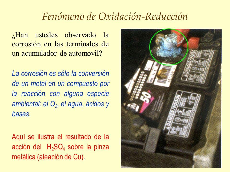 Fenómeno de Oxidación-Reducción ¿Han ustedes observado la corrosión en las terminales de un acumulador de automovil? La corrosión es sólo la conversió