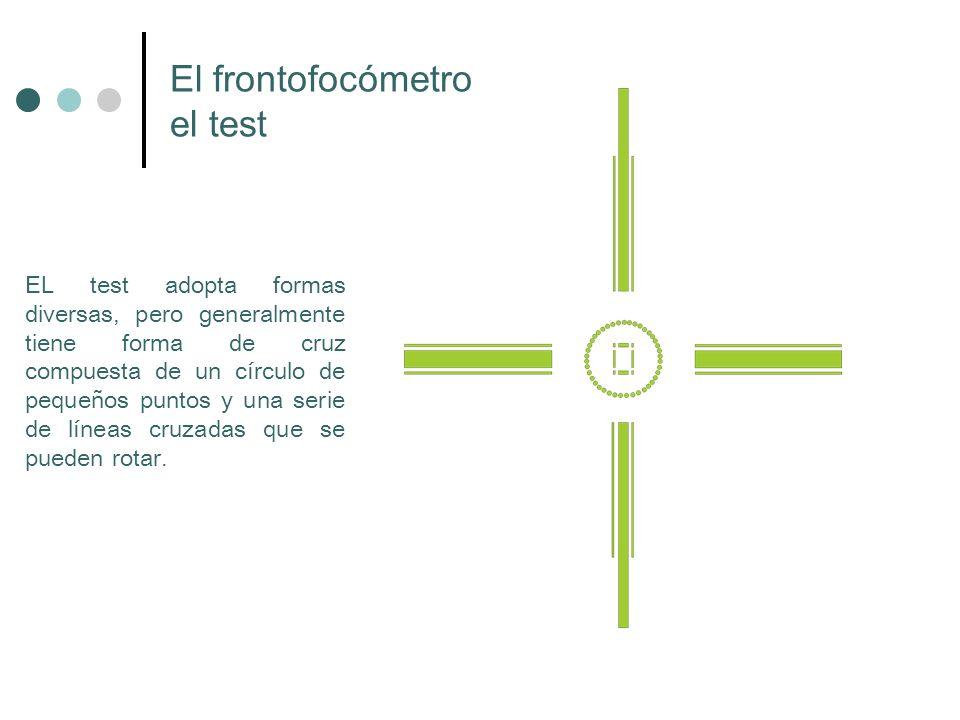EL test adopta formas diversas, pero generalmente tiene forma de cruz compuesta de un círculo de pequeños puntos y una serie de líneas cruzadas que se
