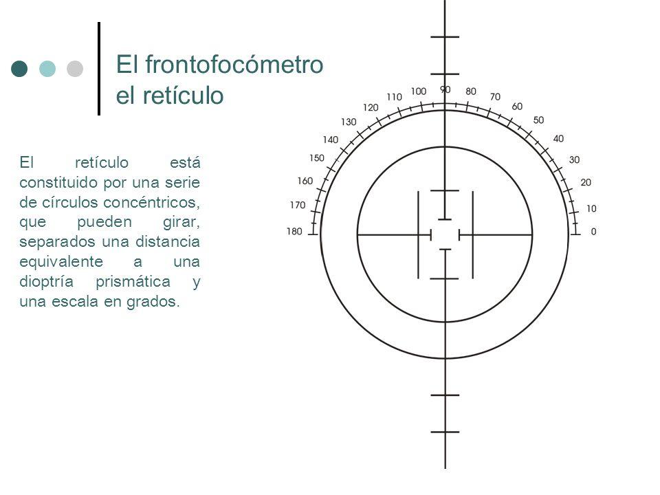 El retículo está constituido por una serie de círculos concéntricos, que pueden girar, separados una distancia equivalente a una dioptría prismática y