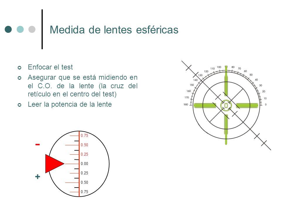 Medida de lentes esféricas Enfocar el test Asegurar que se está midiendo en el C.O. de la lente (la cruz del retículo en el centro del test) Leer la p