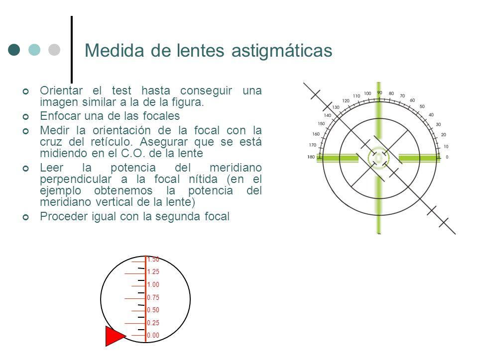 Medida de lentes astigmáticas Orientar el test hasta conseguir una imagen similar a la de la figura. Enfocar una de las focales Medir la orientación d
