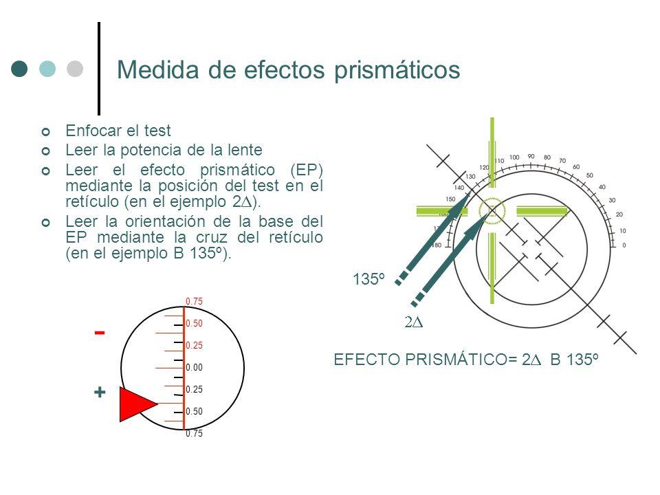 Enfocar el test Leer la potencia de la lente Leer el efecto prismático (EP) mediante la posición del test en el retículo (en el ejemplo 2 ). Leer la o