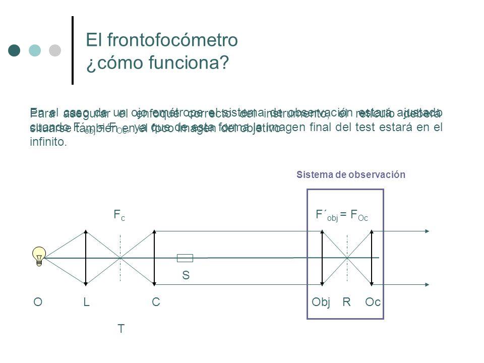 El frontofocómetro ¿cómo funciona? En el caso de un ojo emétrope el sistema de observación estará ajustado cuando F´ obj = F Oc, ya que de esta forma
