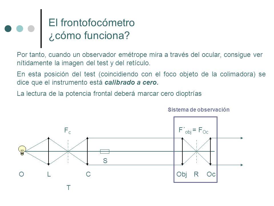 Medida de lentes astigmáticas Ejemplo Enfocamos en primer lugar una de las focales, en este caso la que se encuentra orientada a 30º Leemos la potencia que corresponderá al meridiano de 120º Anotaremos como primer cilindro de la fórmula bicilíndrica la lectura directa es decir potencia y orientación de la focal: (-1.25)30º 1.50 1.25 1.00 0.75 0.50 0.25 0.00