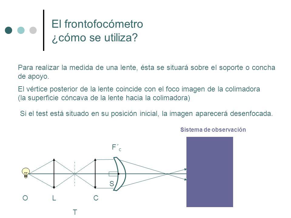 Medida de lentes astigmáticas A continuación enfocaremos la focal orientada a 120º Leeremos la potencia que corresponderá al meridiano de 30º Anotaremos como segundo cilindro de la fórmula bicilíndrica la lectura directa: (-0.75)120º 1.50 1.25 1.00 0.75 0.50 0.25 0.00 (-1.25)30º Fórmula bicilíndrica de la lente