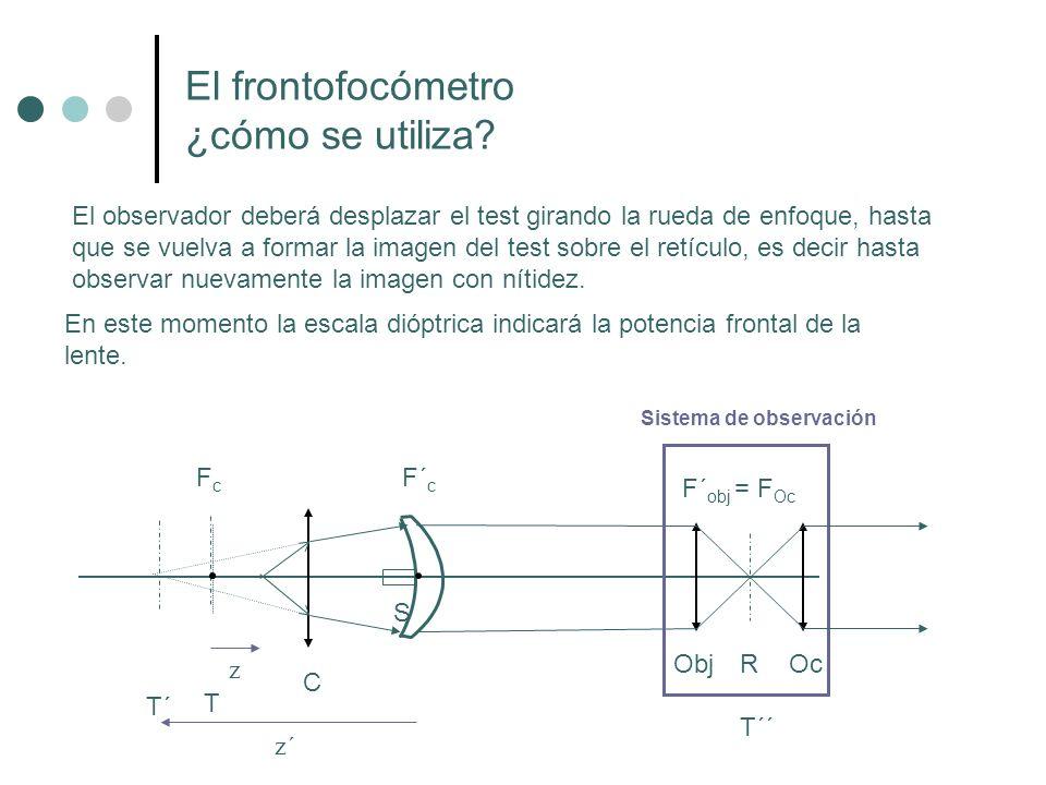 Enfocar el test Leer la potencia de la lente Leer el efecto prismático (EP) mediante la posición del test en el retículo (en el ejemplo 2 ).