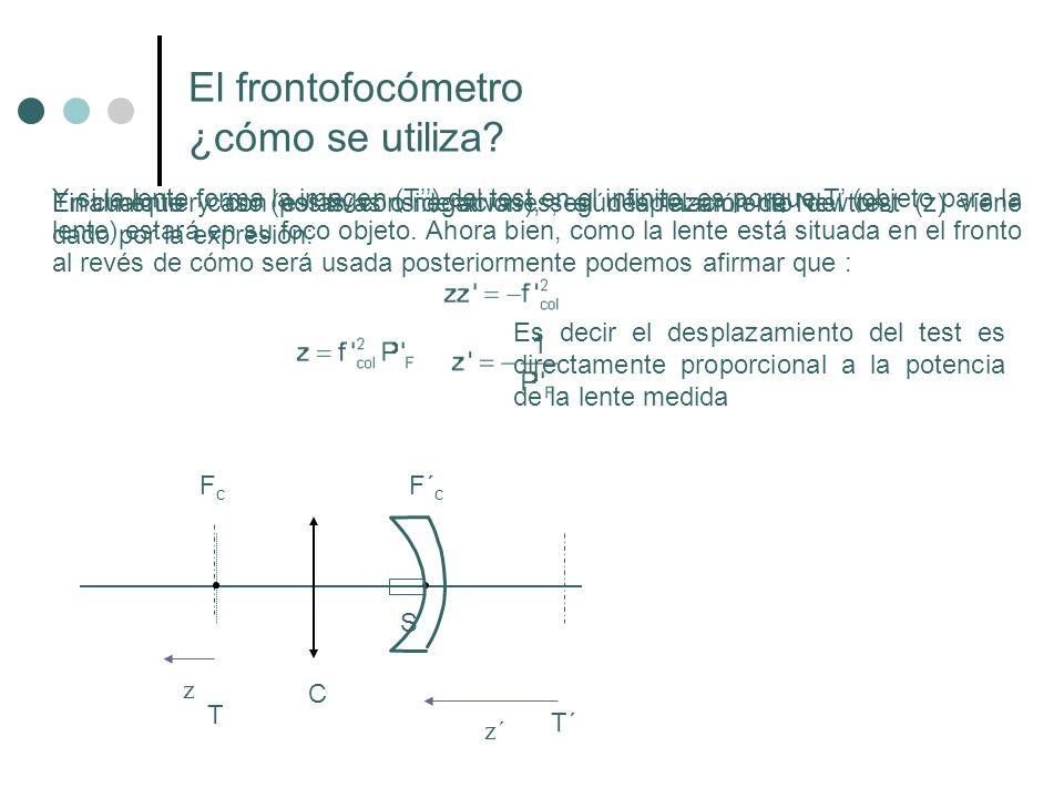 Y si la lente forma la imagen (T) del test en el infinito, es porque T (objeto para la lente) estará en su foco objeto. Ahora bien, como la lente está