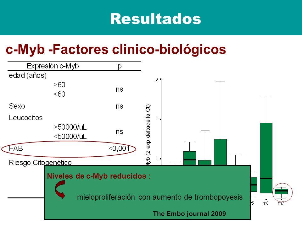 Resultados c-Myb -Factores clinico-biológicos Niveles de c-Myb reducidos : mieloproliferación con aumento de trombopoyesis The Embo journal 2009