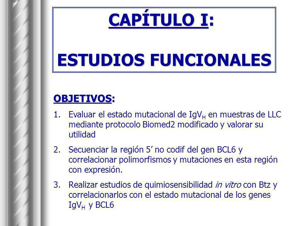 CAPÍTULO I: ESTUDIOS FUNCIONALES OBJETIVOS: 1.Evaluar el estado mutacional de IgV H en muestras de LLC mediante protocolo Biomed2 modificado y valorar