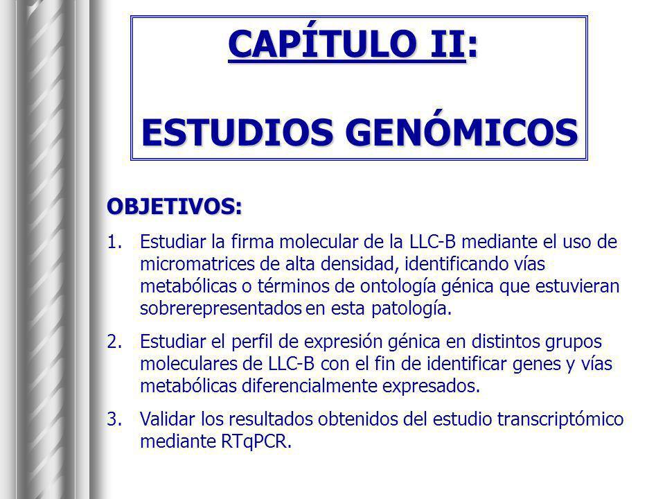 CAPÍTULO II: ESTUDIOS GENÓMICOS OBJETIVOS: 1.Estudiar la firma molecular de la LLC-B mediante el uso de micromatrices de alta densidad, identificando