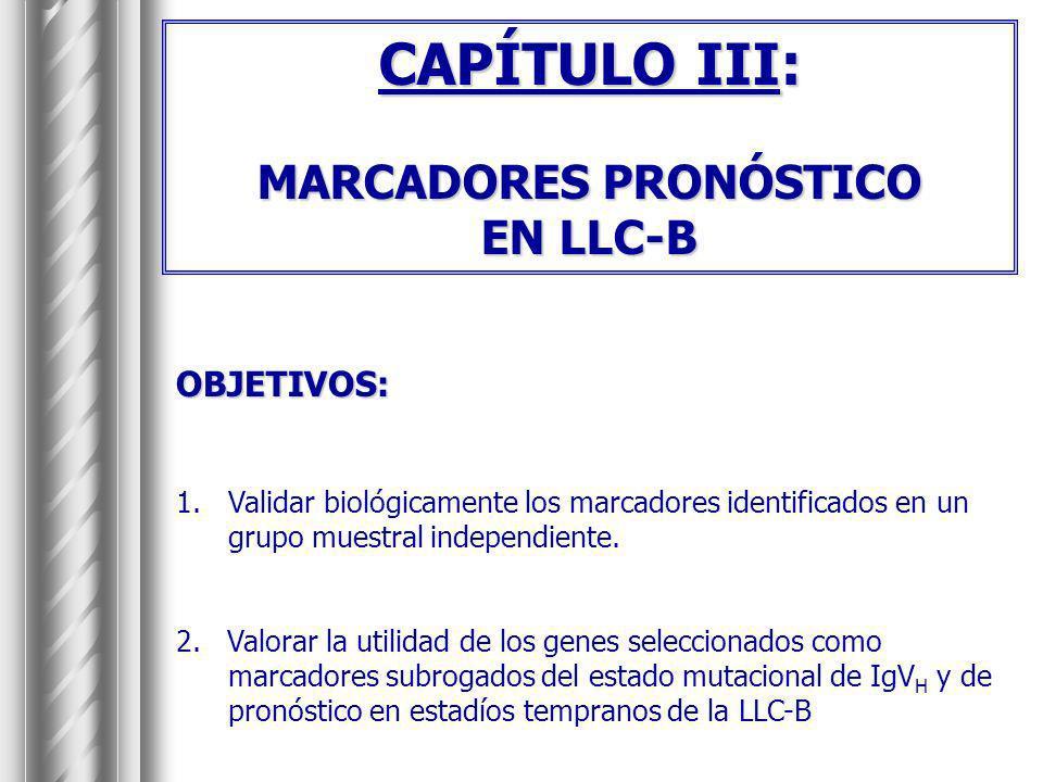 CAPÍTULO III: MARCADORES PRONÓSTICO EN LLC-B OBJETIVOS: 1.Validar biológicamente los marcadores identificados en un grupo muestral independiente. 2. V