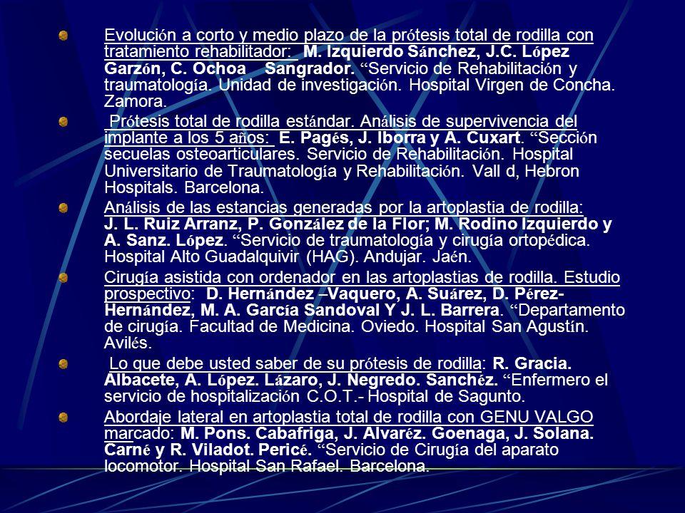 6. Informe clínico de una paciente 2005 7. Página web de la Sociedad Española de Cirugía Ortopédica y Traumatología 2005 8. Base de datos: medline 200