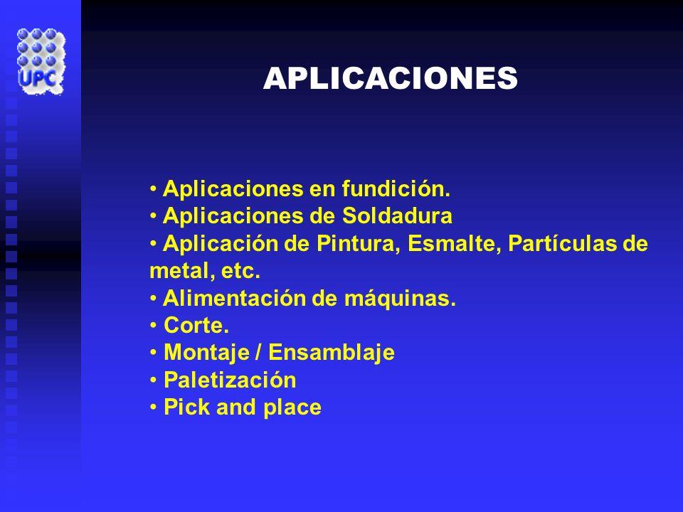 APLICACIONES Aplicaciones en fundición. Aplicaciones de Soldadura Aplicación de Pintura, Esmalte, Partículas de metal, etc. Alimentación de máquinas.