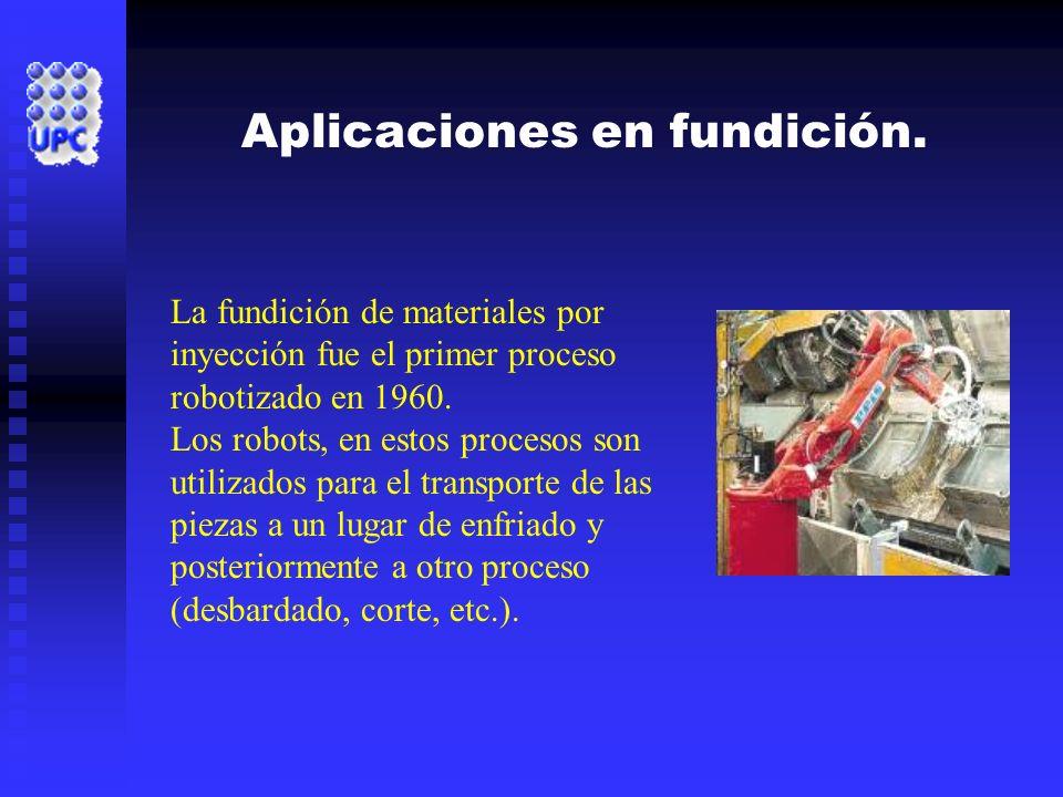 La fundición de materiales por inyección fue el primer proceso robotizado en 1960. Los robots, en estos procesos son utilizados para el transporte de