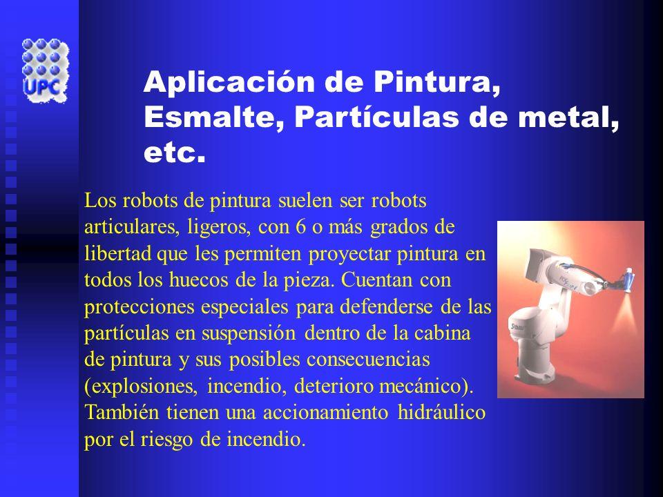 Aplicación de Pintura, Esmalte, Partículas de metal, etc. Los robots de pintura suelen ser robots articulares, ligeros, con 6 o más grados de libertad