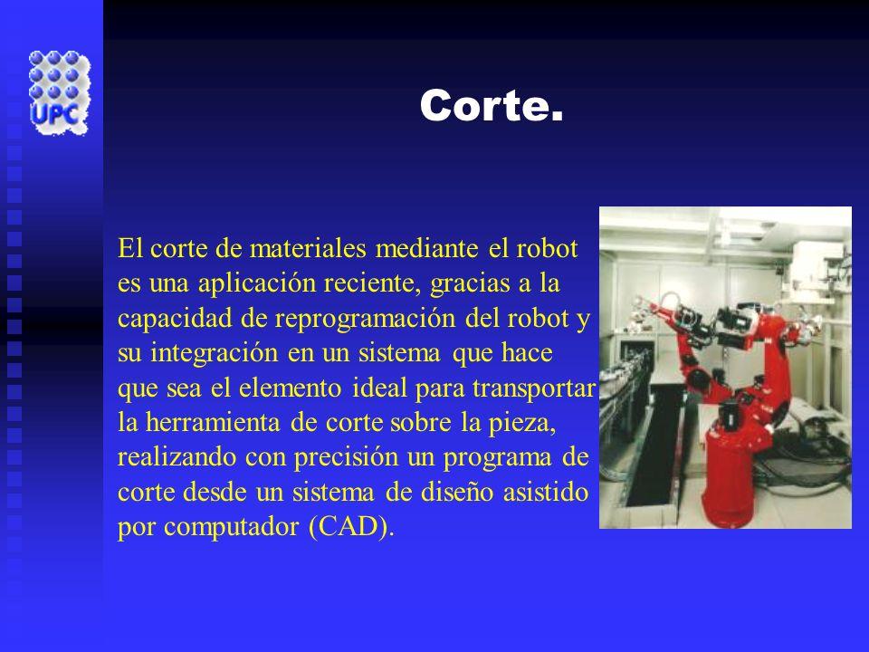 Corte. El corte de materiales mediante el robot es una aplicación reciente, gracias a la capacidad de reprogramación del robot y su integración en un