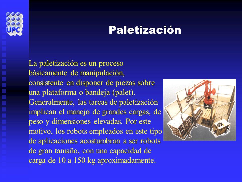 Paletización La paletización es un proceso básicamente de manipulación, consistente en disponer de piezas sobre una plataforma o bandeja (palet). Gene