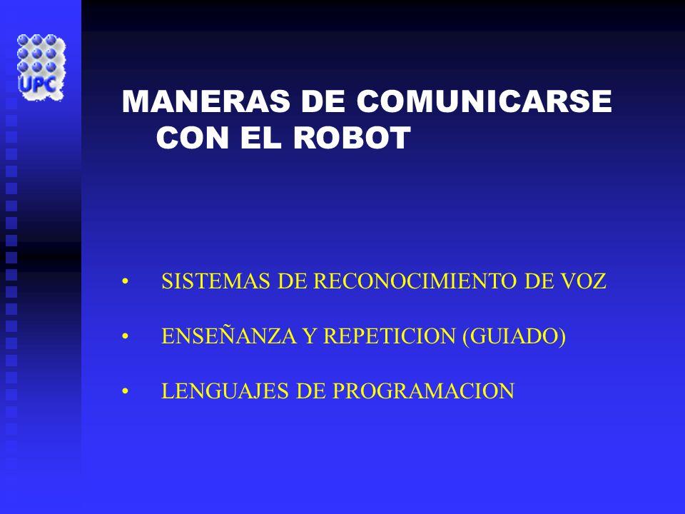 MANERAS DE COMUNICARSE CON EL ROBOT SISTEMAS DE RECONOCIMIENTO DE VOZ ENSEÑANZA Y REPETICION (GUIADO) LENGUAJES DE PROGRAMACION