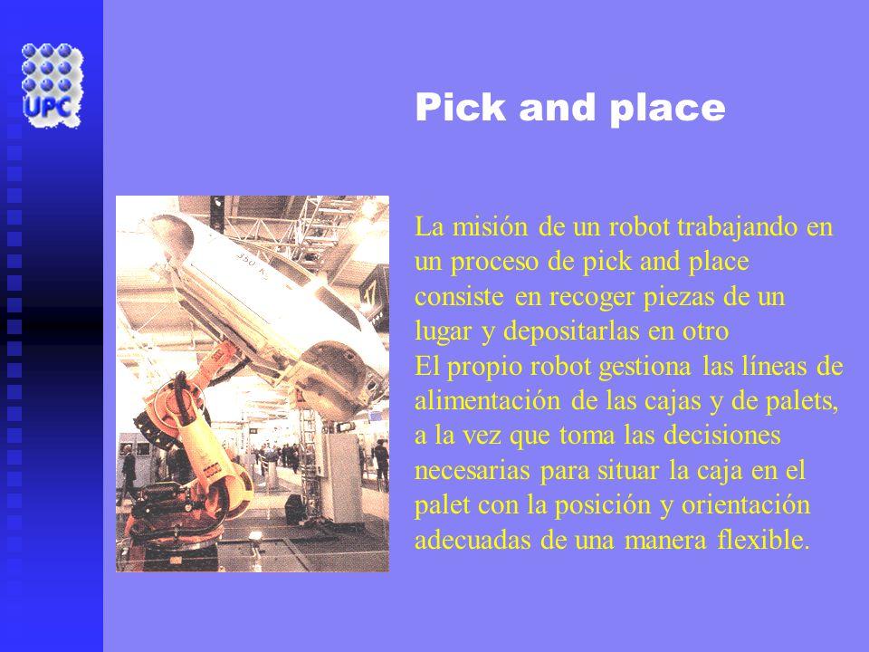 Pick and place La misión de un robot trabajando en un proceso de pick and place consiste en recoger piezas de un lugar y depositarlas en otro El propi