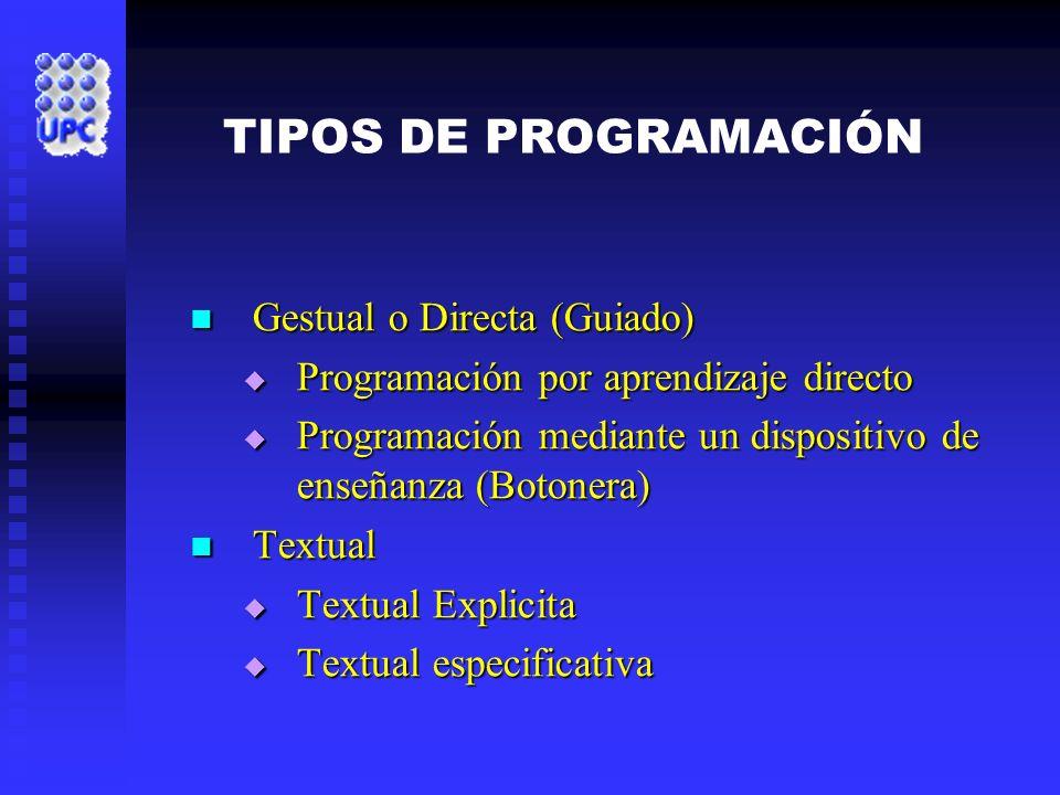 TIPOS DE PROGRAMACIÓN Gestual o Directa (Guiado) Gestual o Directa (Guiado) Programación por aprendizaje directo Programación por aprendizaje directo