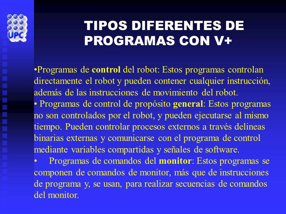 Programas de control del robot: Estos programas controlan directamente el robot y pueden contener cualquier instrucción, además de las instrucciones d
