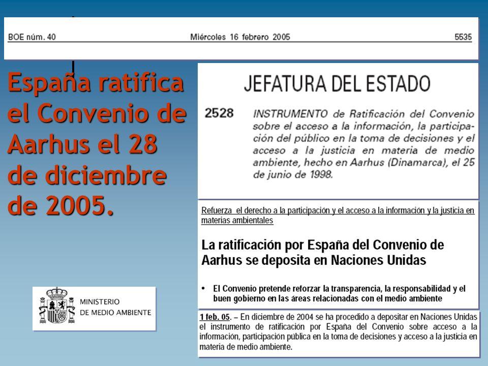 España ratifica el Convenio de Aarhus el 28 de diciembre de 2005.