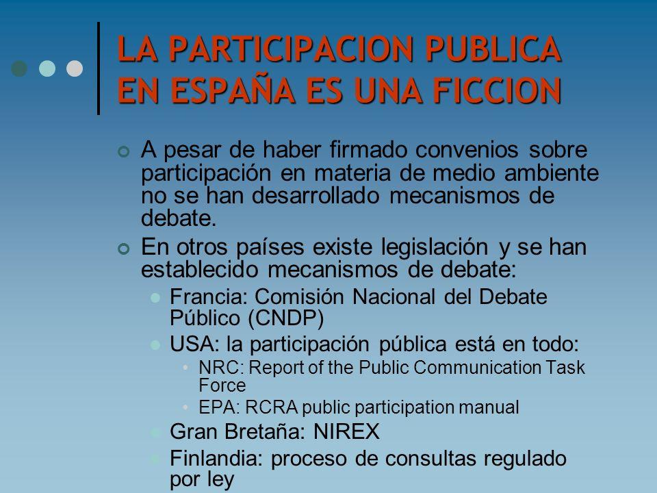 LA PARTICIPACION PUBLICA EN ESPAÑA ES UNA FICCION A pesar de haber firmado convenios sobre participación en materia de medio ambiente no se han desarr