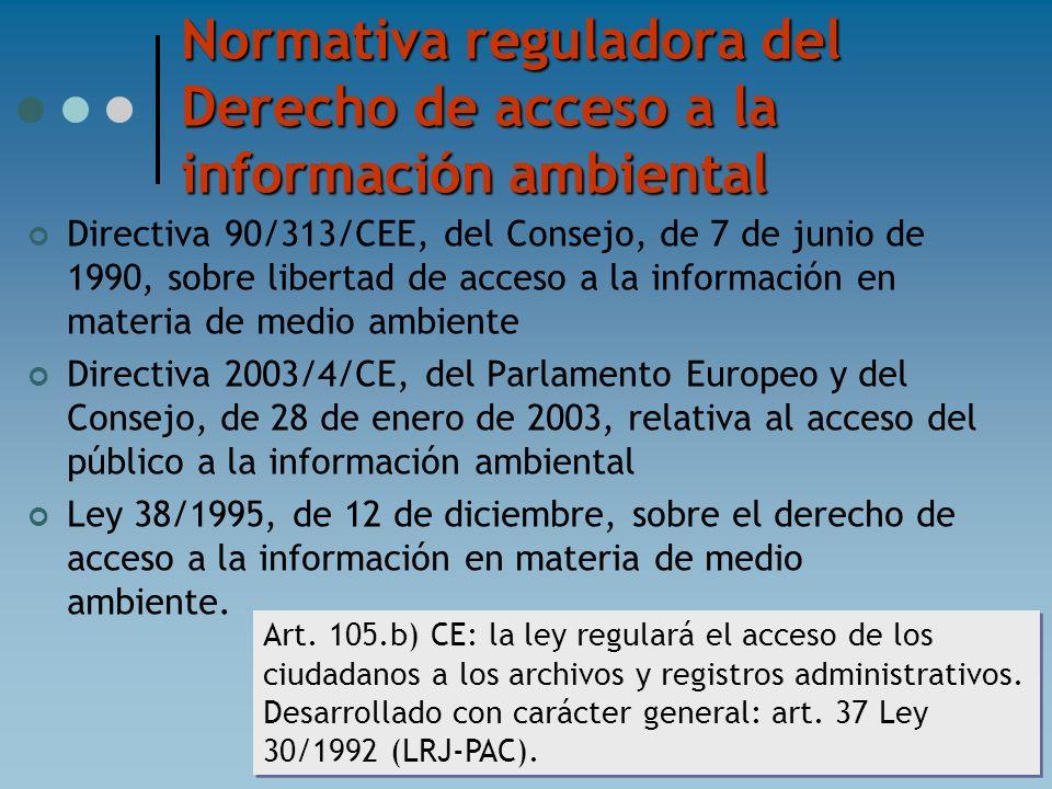 Normativa reguladora del Derecho de acceso a la información ambiental Directiva 90/313/CEE, del Consejo, de 7 de junio de 1990, sobre libertad de acce
