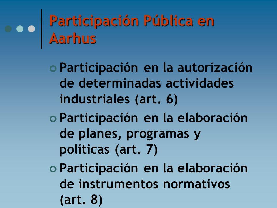 Participación Pública en Aarhus Participación en la autorización de determinadas actividades industriales (art. 6) Participación en la elaboración de