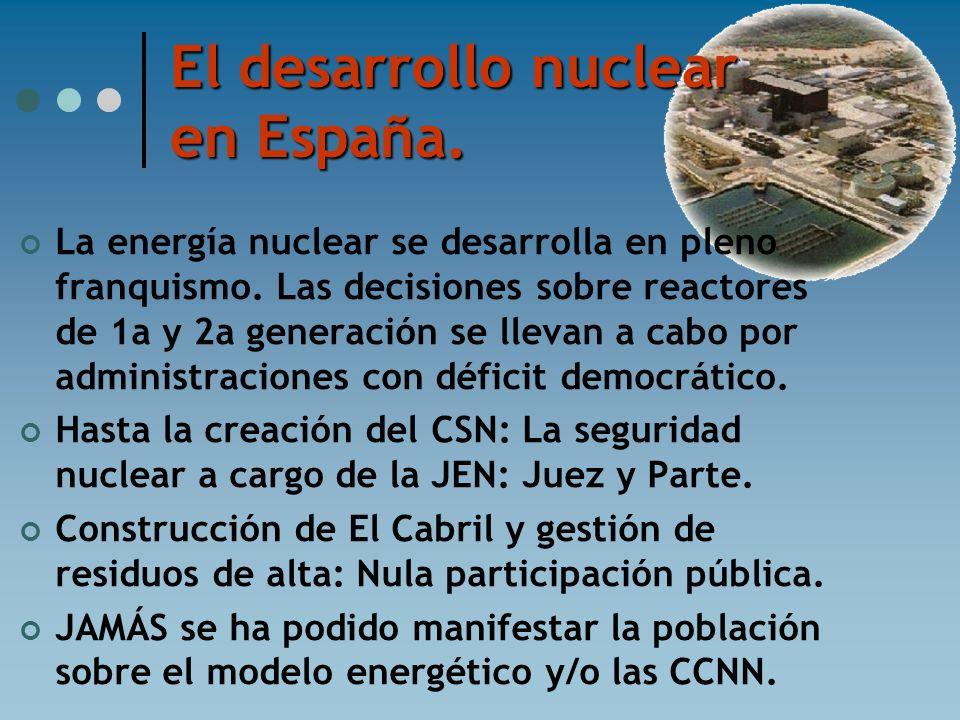 El desarrollo nuclear en España. La energía nuclear se desarrolla en pleno franquismo. Las decisiones sobre reactores de 1a y 2a generación se llevan