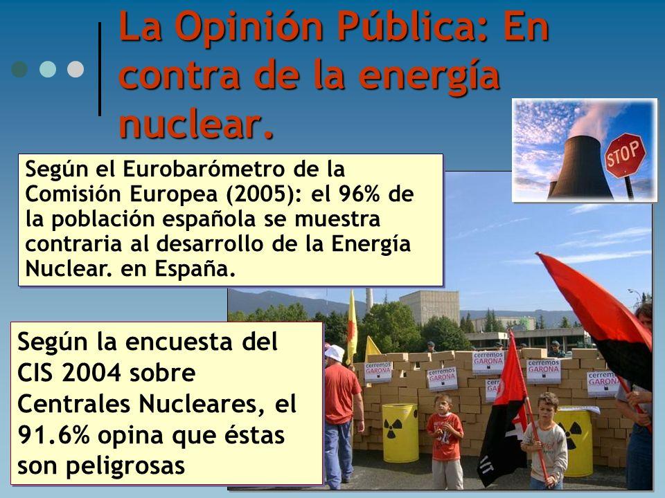 La Opini ó n P ú blica: En contra de la energ í a nuclear. Según la encuesta del CIS 2004 sobre Centrales Nucleares, el 91.6% opina que éstas son peli