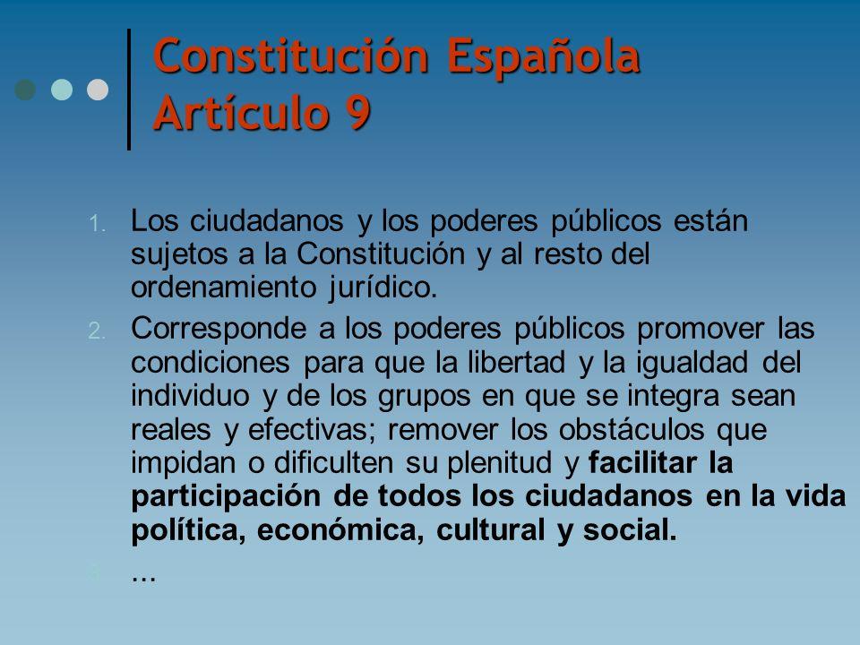 Constitución Española Artículo 9 1. Los ciudadanos y los poderes públicos están sujetos a la Constitución y al resto del ordenamiento jurídico. 2. Cor