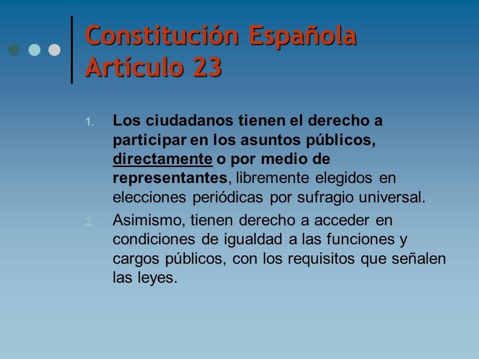 Constitución Española Artículo 23 1. Los ciudadanos tienen el derecho a participar en los asuntos públicos, directamente o por medio de representantes