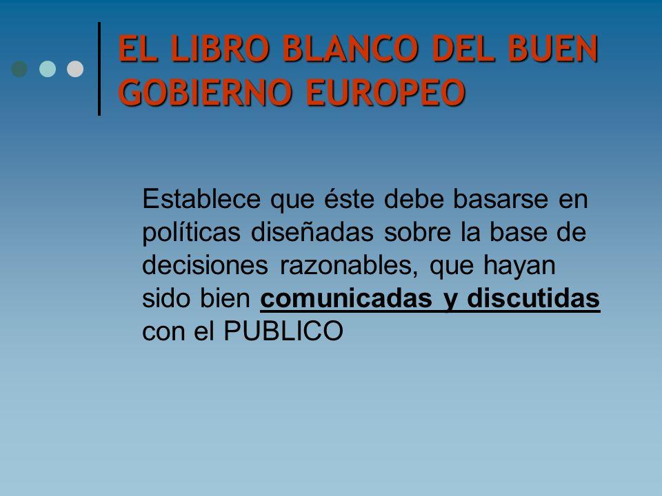 EL LIBRO BLANCO DEL BUEN GOBIERNO EUROPEO Establece que éste debe basarse en políticas diseñadas sobre la base de decisiones razonables, que hayan sid