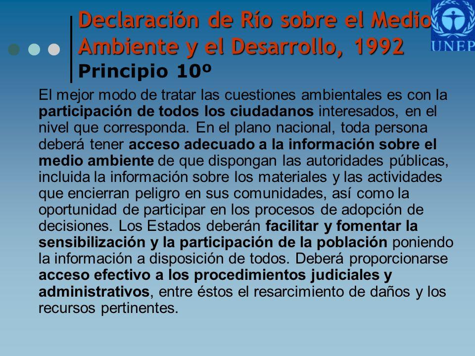 Declaración de Río sobre el Medio Ambiente y el Desarrollo, 1992 Declaración de Río sobre el Medio Ambiente y el Desarrollo, 1992 Principio 10º El mej