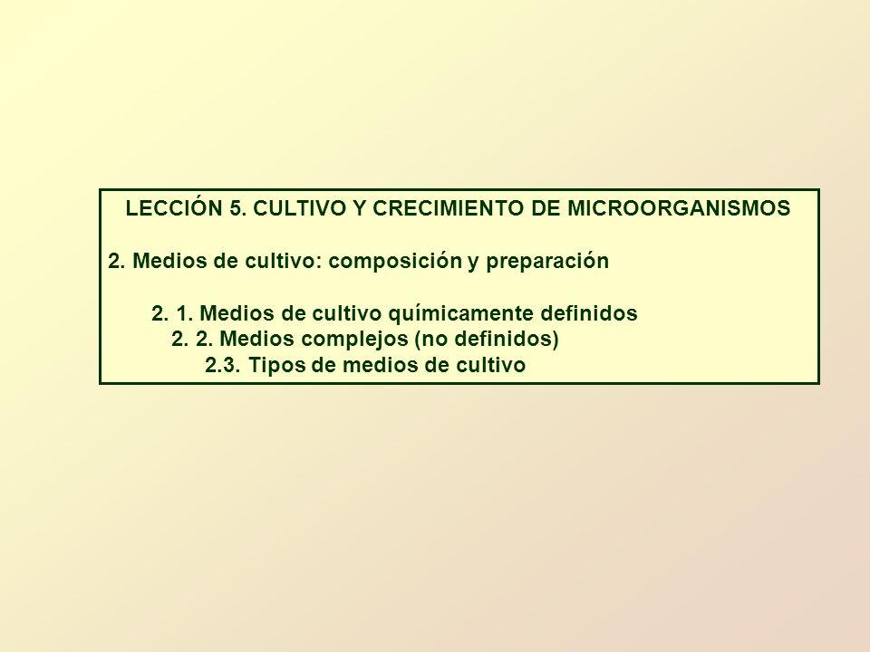 LECCIÓN 5. CULTIVO Y CRECIMIENTO DE MICROORGANISMOS 2. Medios de cultivo: composición y preparación 2. 1. Medios de cultivo químicamente definidos 2.