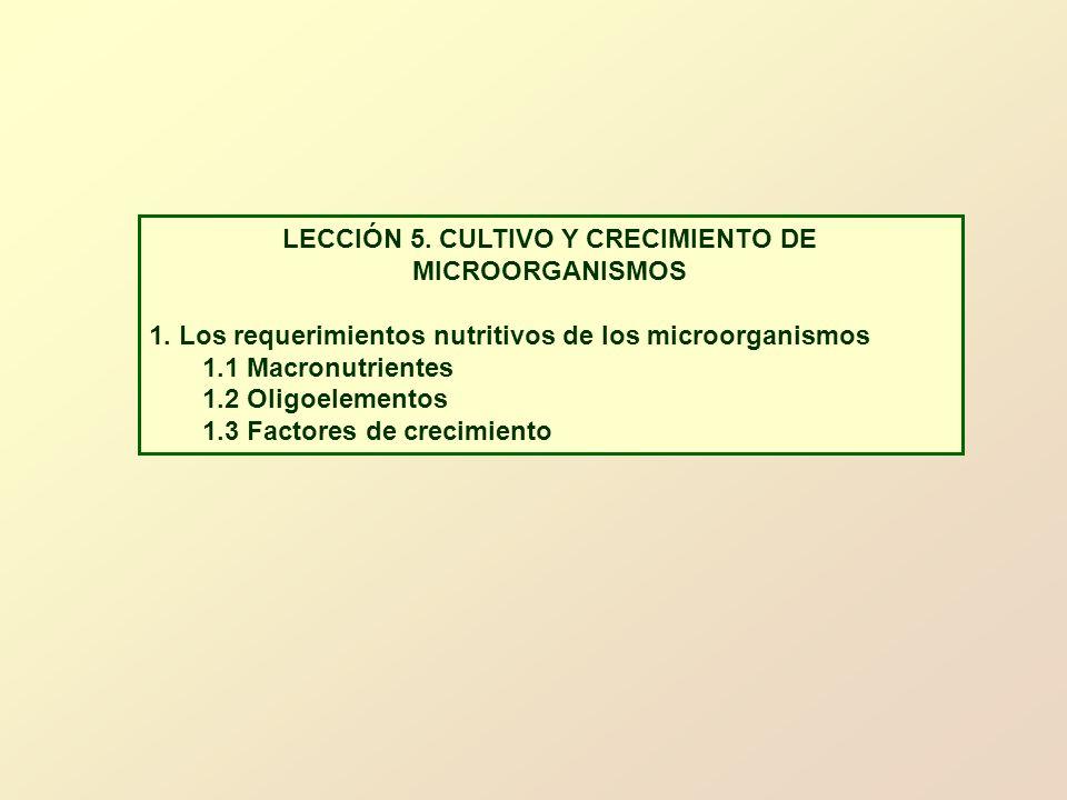 LECCIÓN 5. CULTIVO Y CRECIMIENTO DE MICROORGANISMOS 1. Los requerimientos nutritivos de los microorganismos 1.1 Macronutrientes 1.2 Oligoelementos 1.3