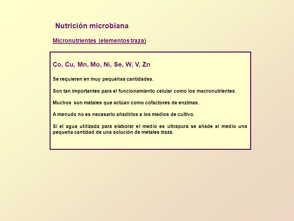 Nutrición microbiana Micronutrientes (elementos traza) Co, Cu, Mn, Mo, Ni, Se, W, V, Zn Se requieren en muy pequeñas cantidades. Son tan importantes p