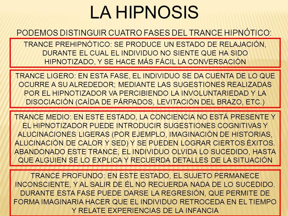 LA HIPNOSIS PODEMOS DISTINGUIR CUATRO FASES DEL TRANCE HIPNÓTICO: TRANCE PREHIPNÓTICO: SE PRODUCE UN ESTADO DE RELAJACIÓN, DURANTE EL CUAL EL INDIVIDU