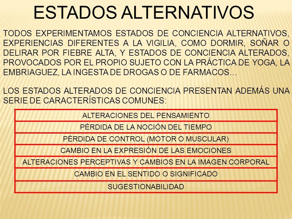 ESTADOS ALTERNATIVOS LOS ESTADOS ALTERADOS DE CONCIENCIA PRESENTAN ADEMÁS UNA SERIE DE CARACTERÍSTICAS COMUNES: ALTERACIONES DEL PENSAMIENTO PÉRDIDA D