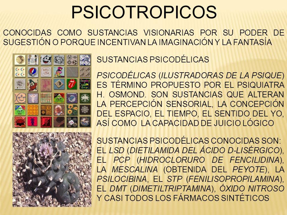 PSICOTROPICOS SUSTANCIAS PSICODÉLICAS SUSTANCIAS PSICODÉLICAS CONOCIDAS SON: EL LSD (DIETILAMIDA DEL ÁCIDO D-LISÉRGICO), EL PCP (HIDROCLORURO DE FENCI