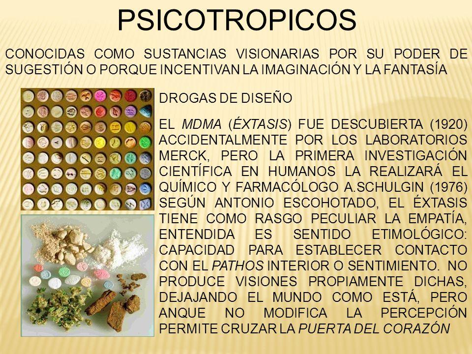 PSICOTROPICOS EL MDMA (ÉXTASIS) FUE DESCUBIERTA (1920) ACCIDENTALMENTE POR LOS LABORATORIOS MERCK, PERO LA PRIMERA INVESTIGACIÓN CIENTÍFICA EN HUMANOS